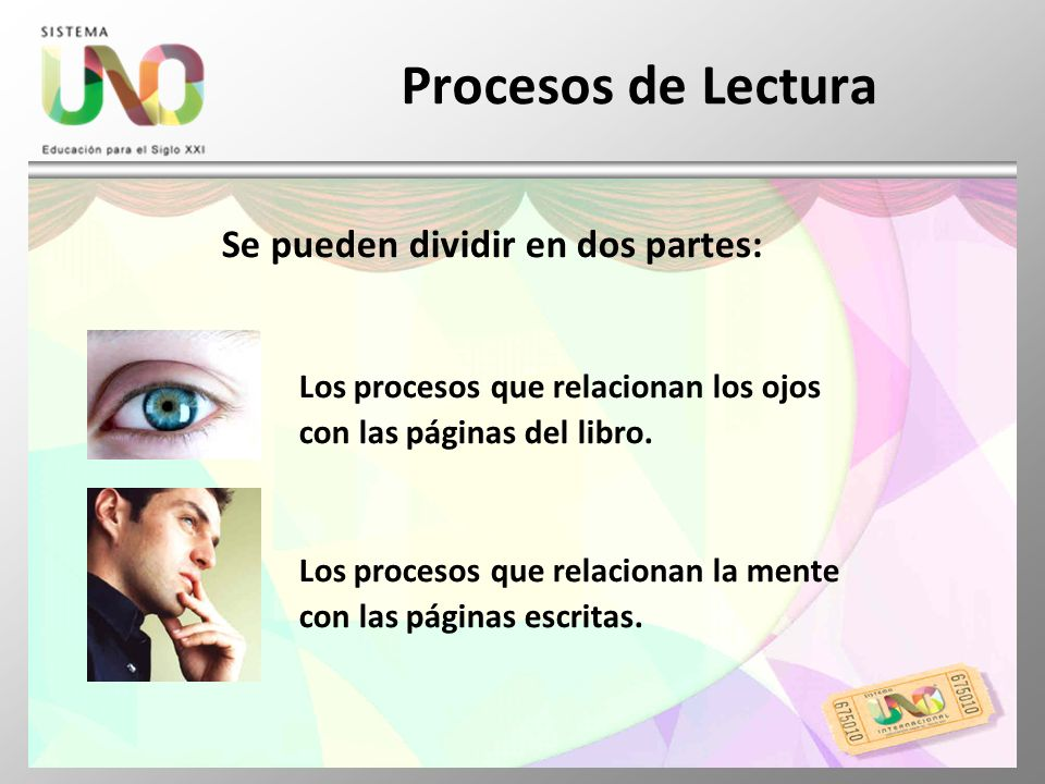 Procesos de Lectura Se pueden dividir en dos partes: