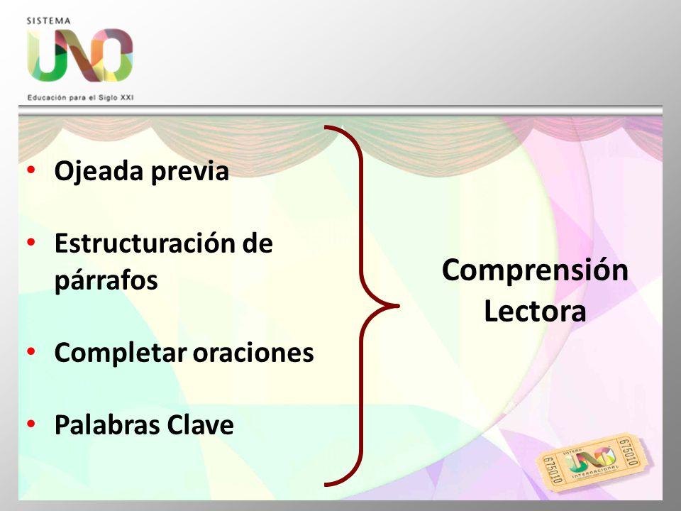 Comprensión Lectora Ojeada previa Estructuración de párrafos