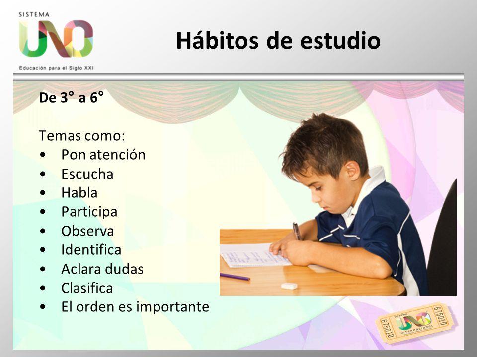 Hábitos de estudio De 3° a 6° Temas como: Pon atención Escucha Habla
