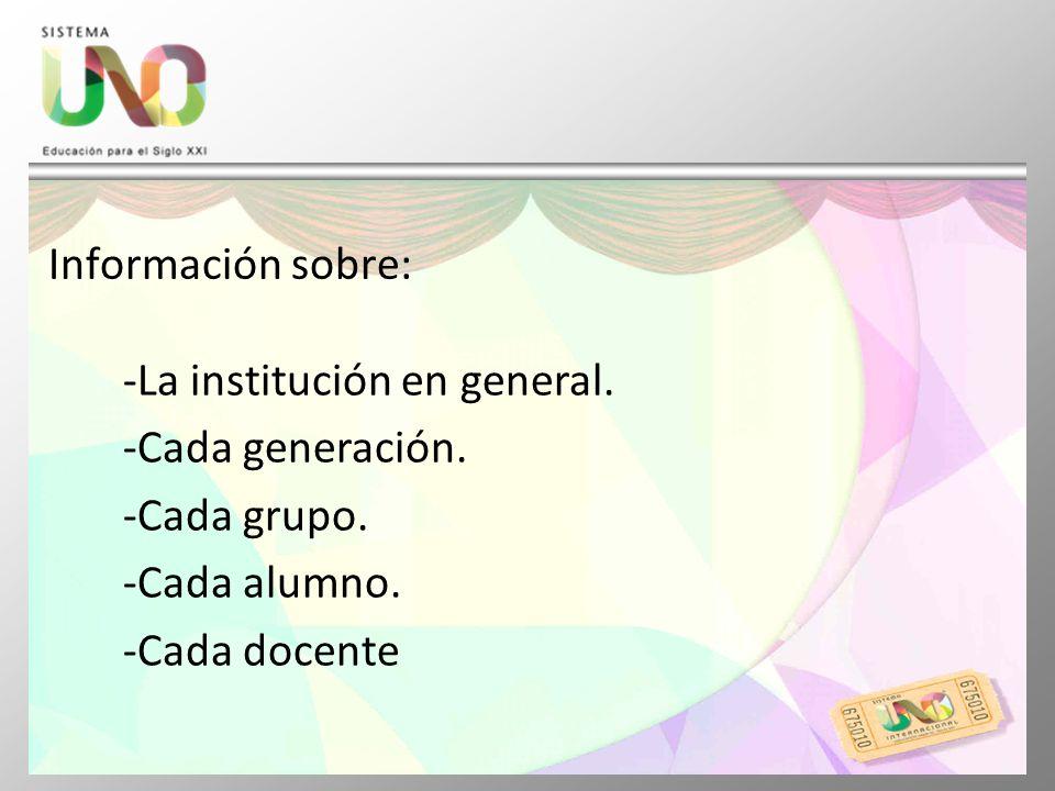 Información sobre: La institución en general. Cada generación.