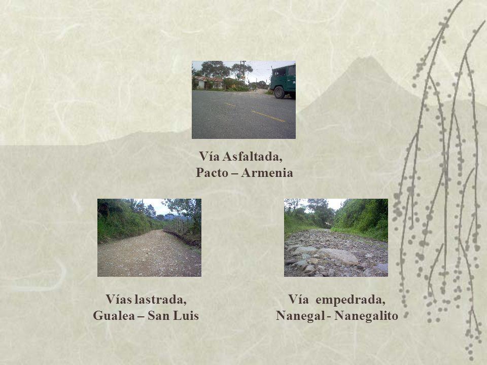 Vías lastrada, Gualea – San Luis Vía empedrada, Nanegal - Nanegalito