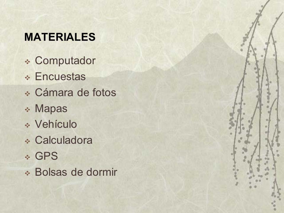 MATERIALES Computador Encuestas Cámara de fotos Mapas Vehículo Calculadora GPS Bolsas de dormir