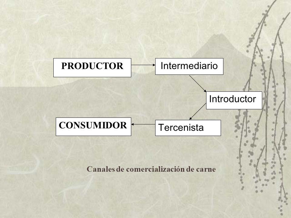 PRODUCTOR Intermediario Introductor CONSUMIDOR Tercenista