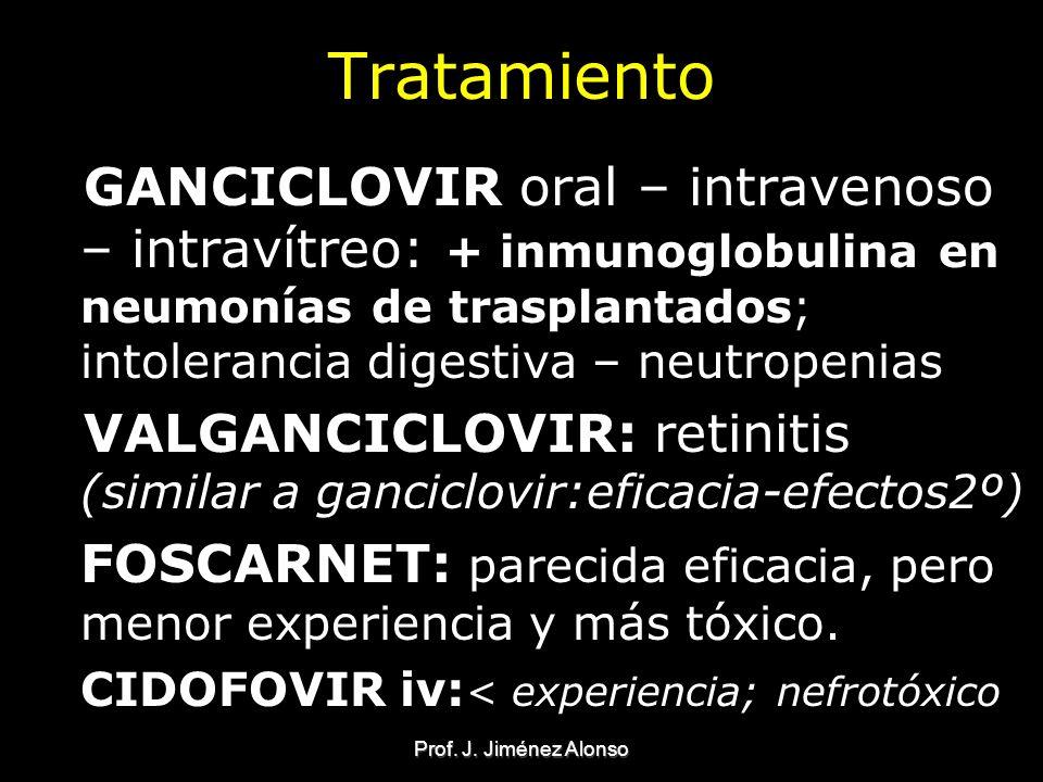 Tratamiento GANCICLOVIR oral – intravenoso – intravítreo: + inmunoglobulina en neumonías de trasplantados; intolerancia digestiva – neutropenias.