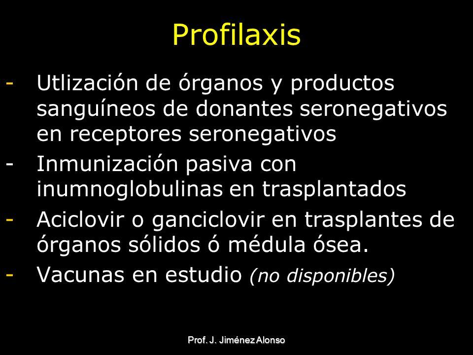 Profilaxis Utlización de órganos y productos sanguíneos de donantes seronegativos en receptores seronegativos.