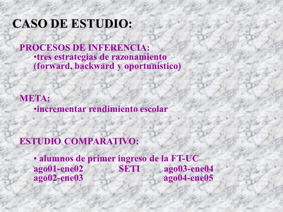 CASO DE ESTUDIO: PROCESOS DE INFERENCIA: