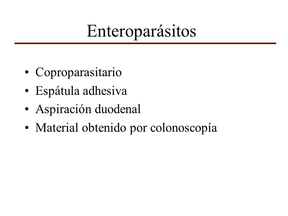 Enteroparásitos Coproparasitario Espátula adhesiva Aspiración duodenal