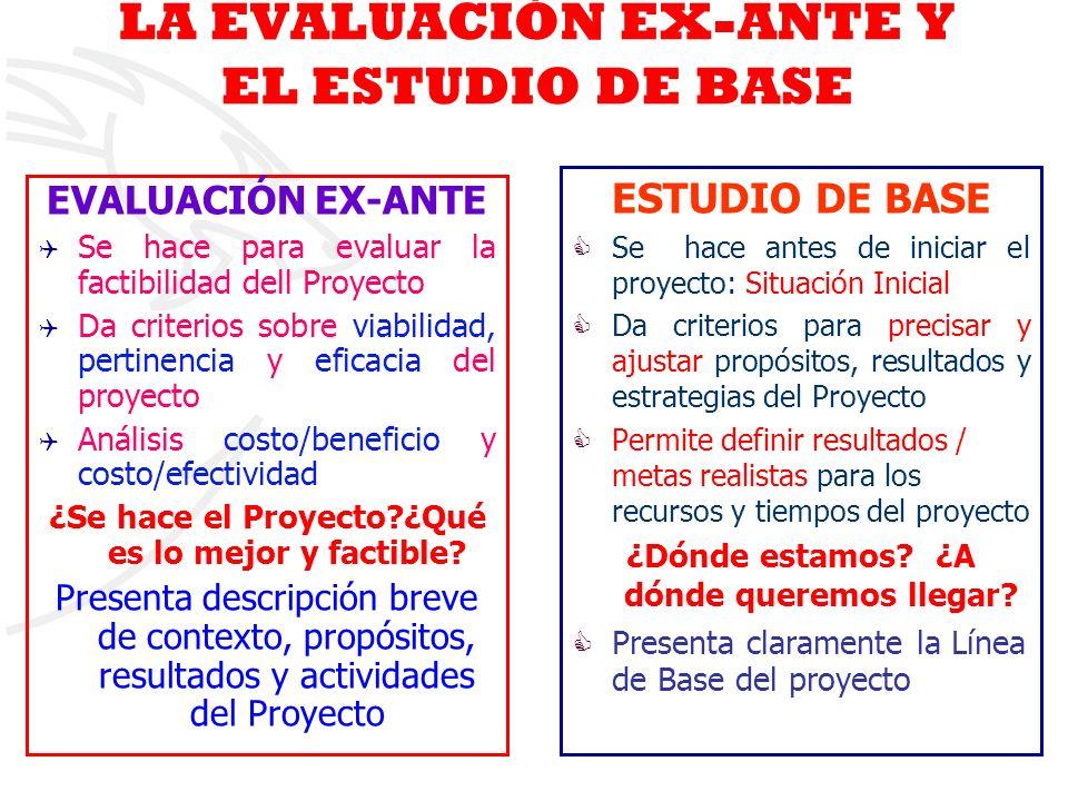 LA EVALUACIÓN EX-ANTE Y EL ESTUDIO DE BASE