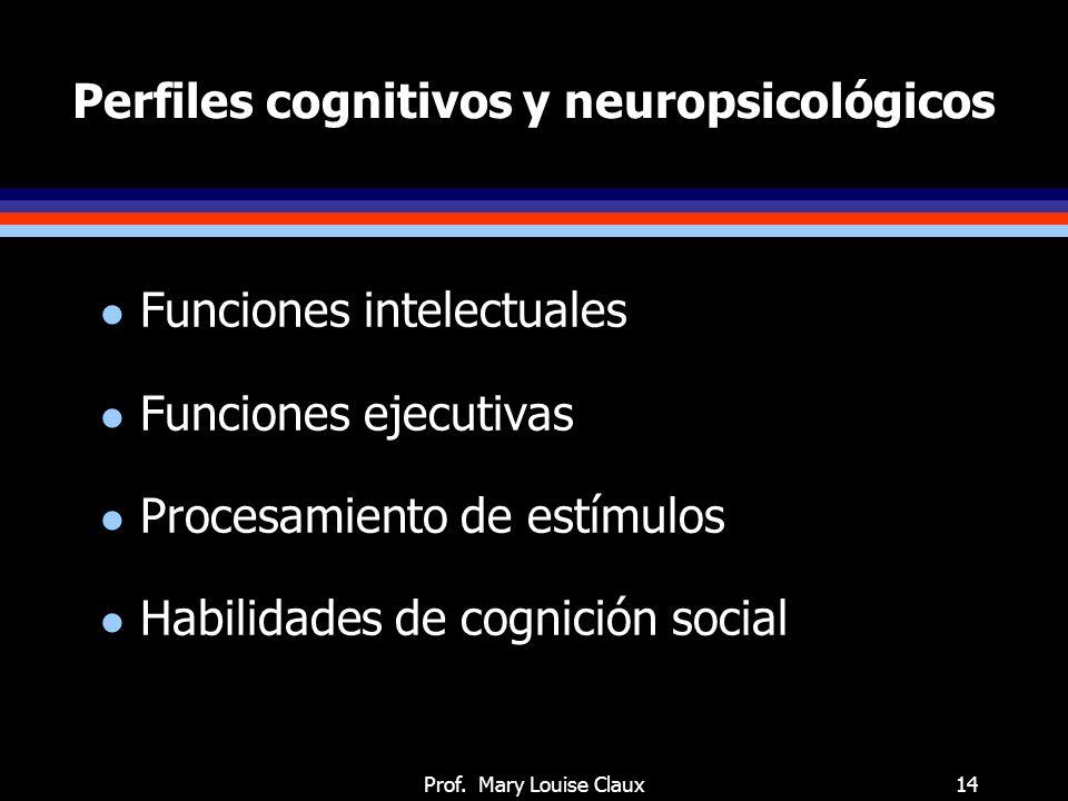 Perfiles cognitivos y neuropsicológicos: funciones intelectuales