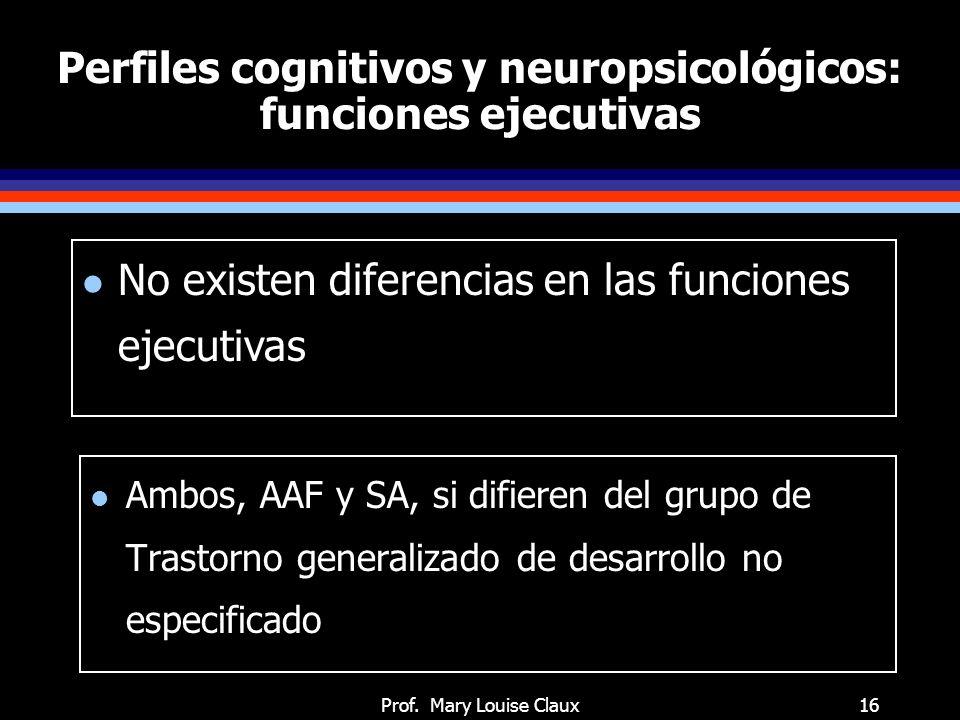 Perfiles cognitivos y neuropsicológicos: procesamiento de estímulos