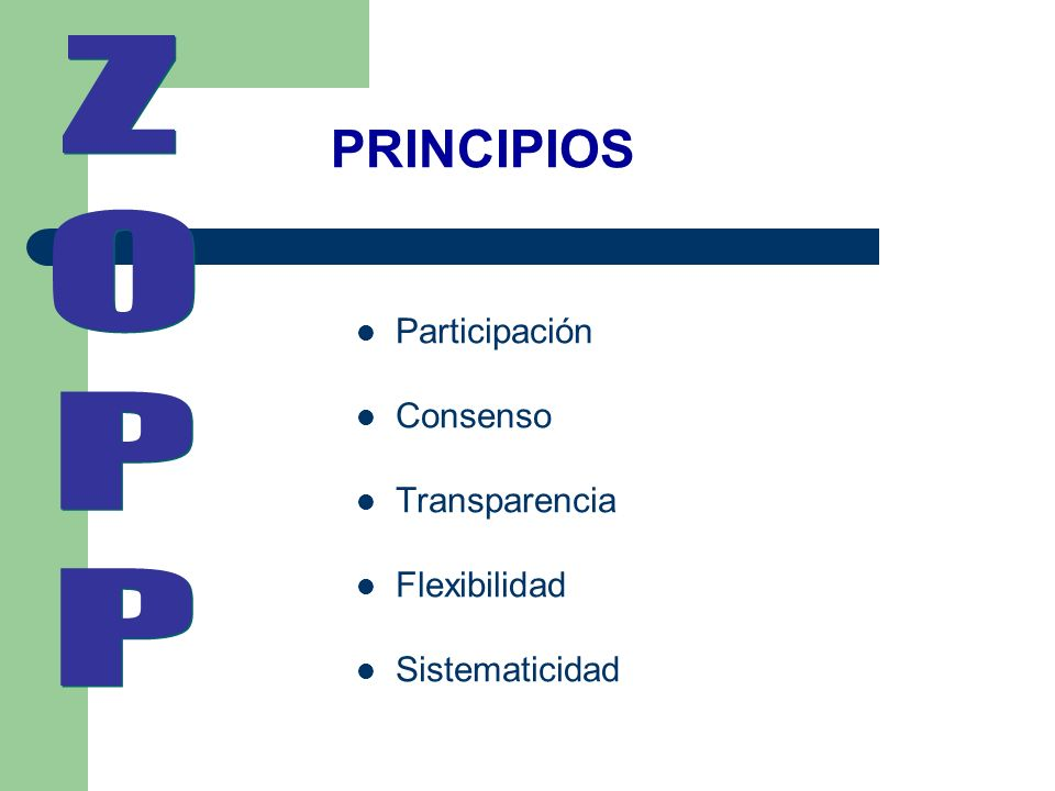 Z O P PRINCIPIOS Participación Consenso Transparencia Flexibilidad