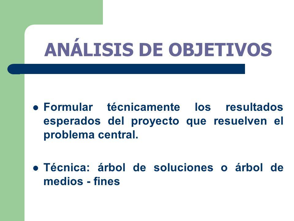 ANÁLISIS DE OBJETIVOS Formular técnicamente los resultados esperados del proyecto que resuelven el problema central.