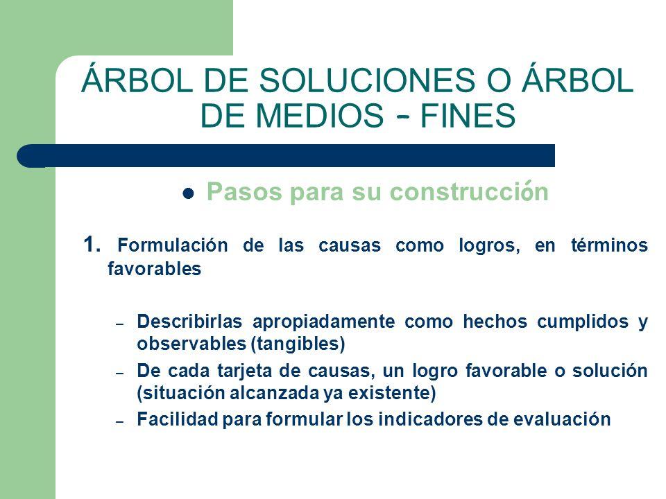 ÁRBOL DE SOLUCIONES O ÁRBOL DE MEDIOS – FINES
