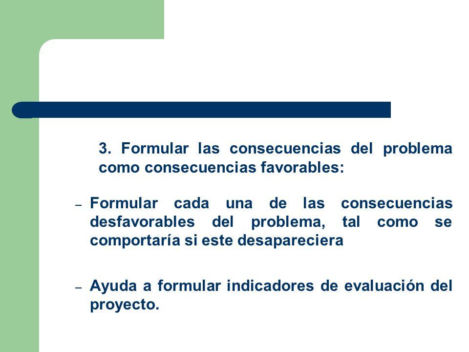 3. Formular las consecuencias del problema
