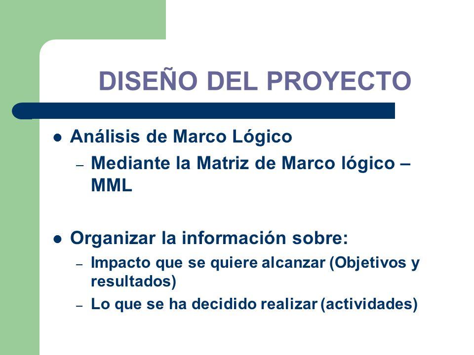 DISEÑO DEL PROYECTO Análisis de Marco Lógico
