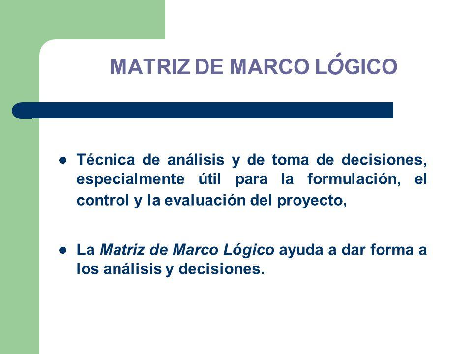 MATRIZ DE MARCO LÓGICO Técnica de análisis y de toma de decisiones, especialmente útil para la formulación, el control y la evaluación del proyecto,
