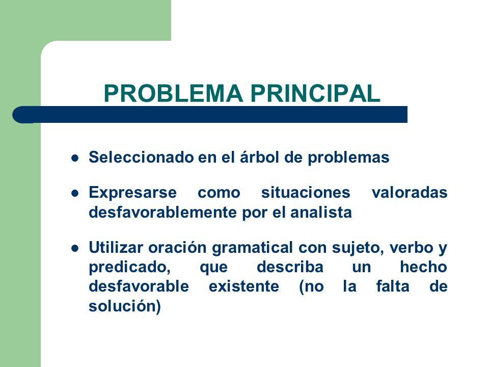 PROBLEMA PRINCIPAL Seleccionado en el árbol de problemas
