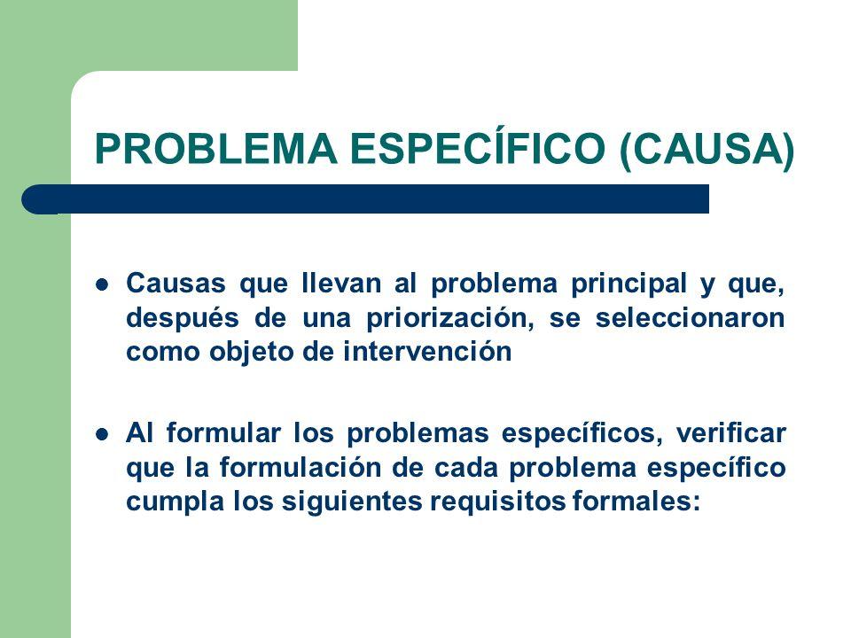 PROBLEMA ESPECÍFICO (CAUSA)