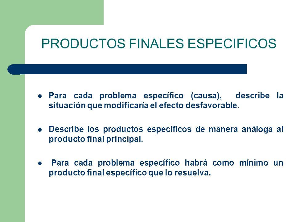 PRODUCTOS FINALES ESPECIFICOS