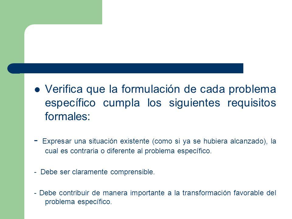 Verifica que la formulación de cada problema específico cumpla los siguientes requisitos formales: