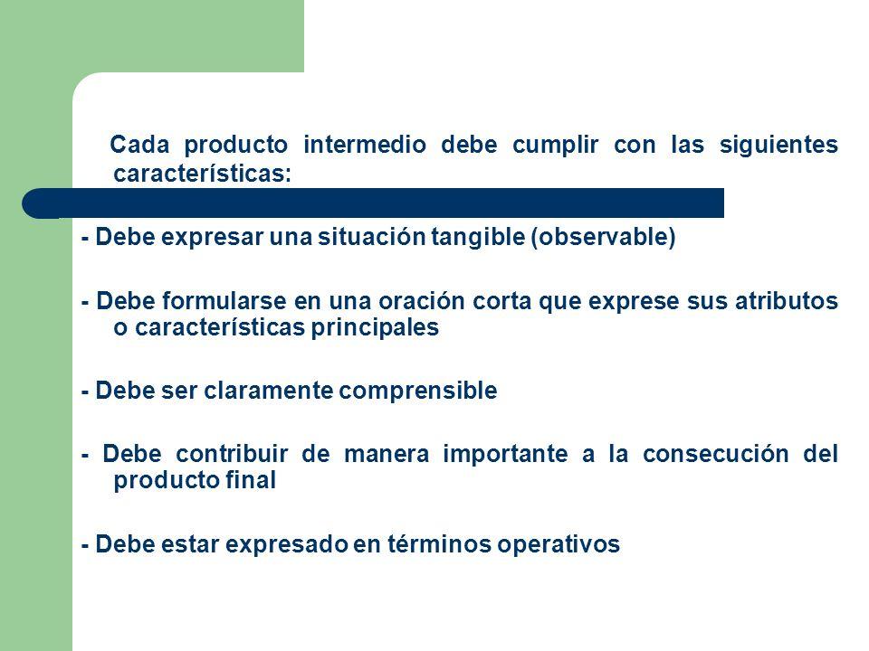 Cada producto intermedio debe cumplir con las siguientes características: