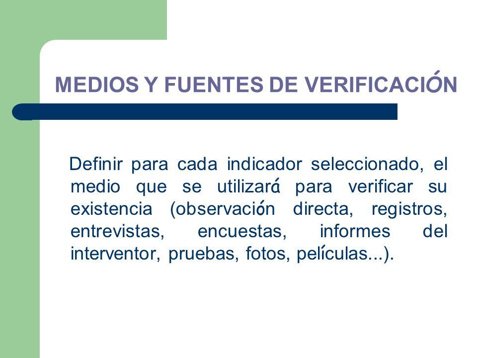 MEDIOS Y FUENTES DE VERIFICACIÓN