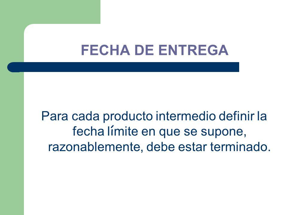 FECHA DE ENTREGA Para cada producto intermedio definir la fecha límite en que se supone, razonablemente, debe estar terminado.