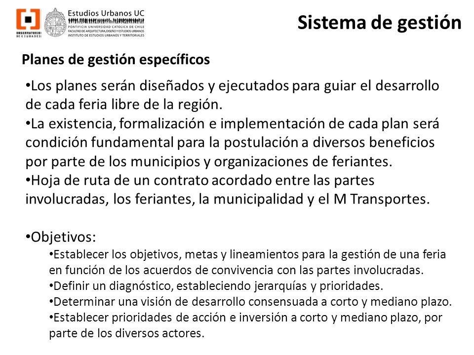 Sistema de gestión Planes de gestión específicos