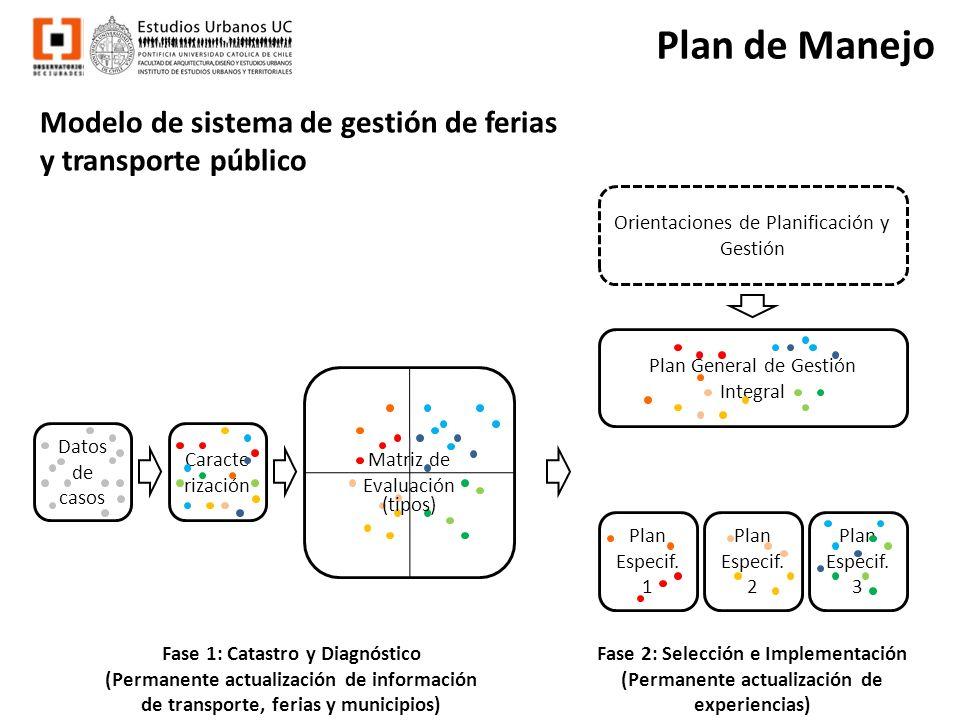 Plan de Manejo Modelo de sistema de gestión de ferias y transporte público. Datos de casos. Caracterización.
