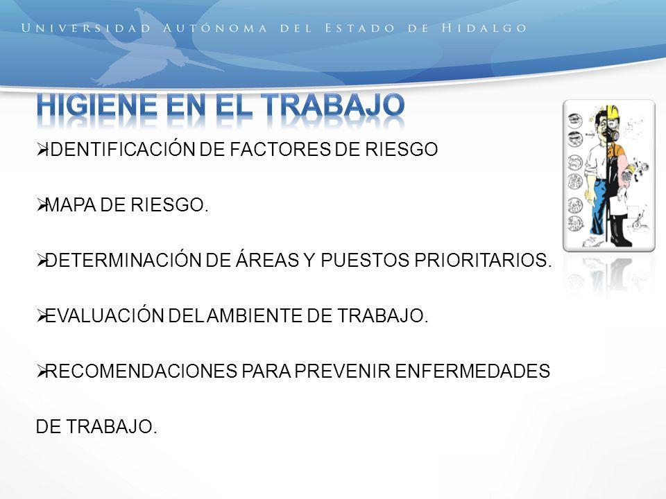 HIGIENE EN EL TRABAJO IDENTIFICACIÓN DE FACTORES DE RIESGO