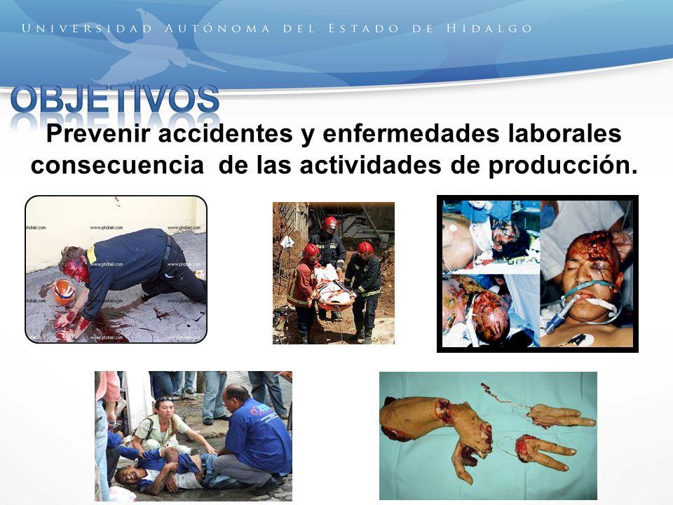 OBJETIVOS Prevenir accidentes y enfermedades laborales consecuencia de las actividades de producción.