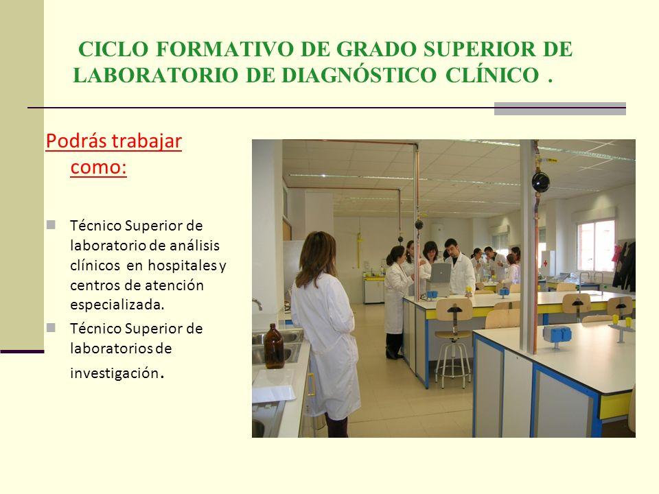 CICLO FORMATIVO DE GRADO SUPERIOR DE LABORATORIO DE DIAGNÓSTICO CLÍNICO .