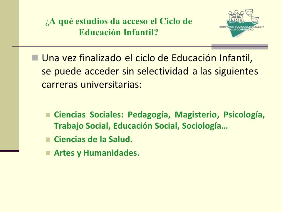¿A qué estudios da acceso el Ciclo de Educación Infantil