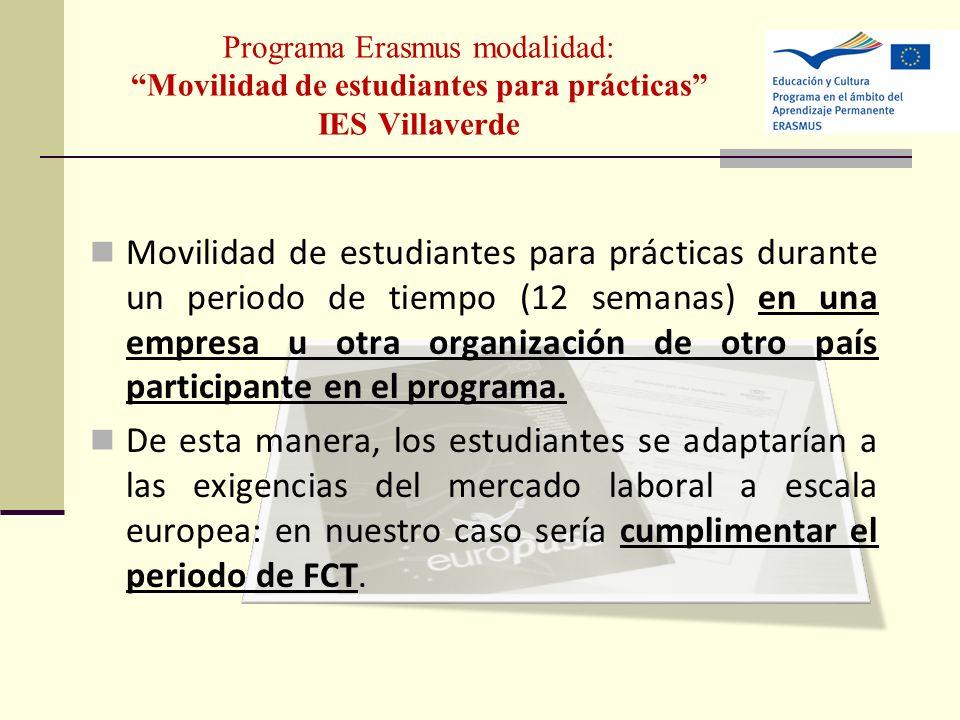 Programa Erasmus modalidad: Movilidad de estudiantes para prácticas IES Villaverde