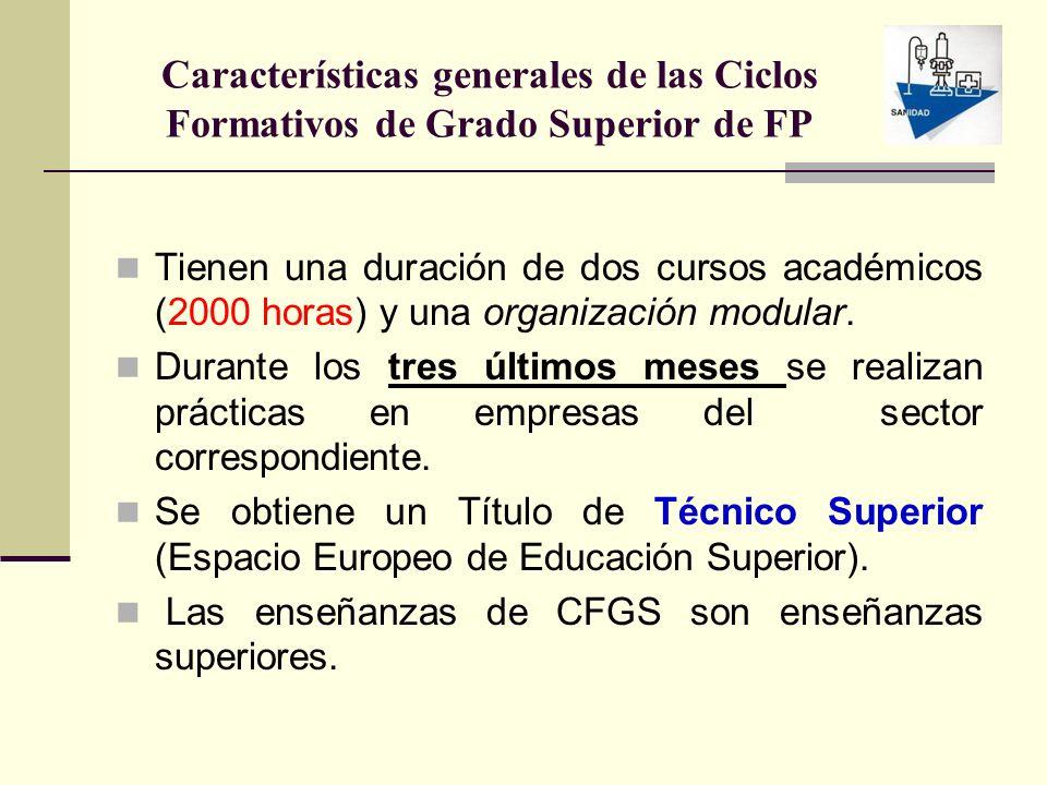 Características generales de las Ciclos Formativos de Grado Superior de FP