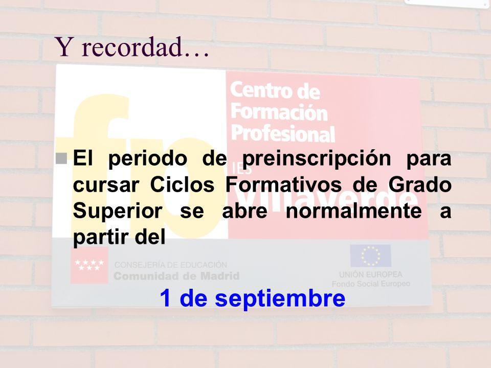 Y recordad… 1 de septiembre