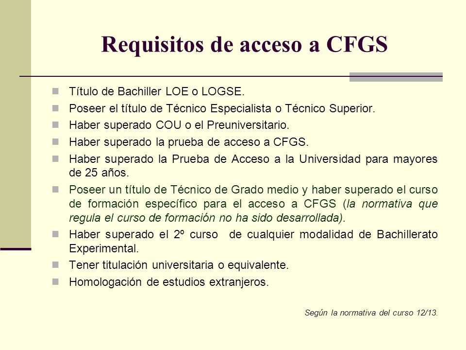Requisitos de acceso a CFGS