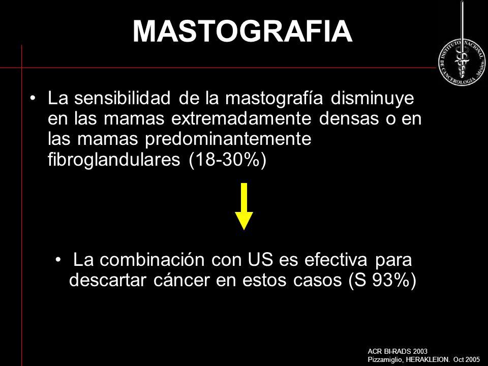 MASTOGRAFIA La sensibilidad de la mastografía disminuye en las mamas extremadamente densas o en las mamas predominantemente fibroglandulares (18-30%)
