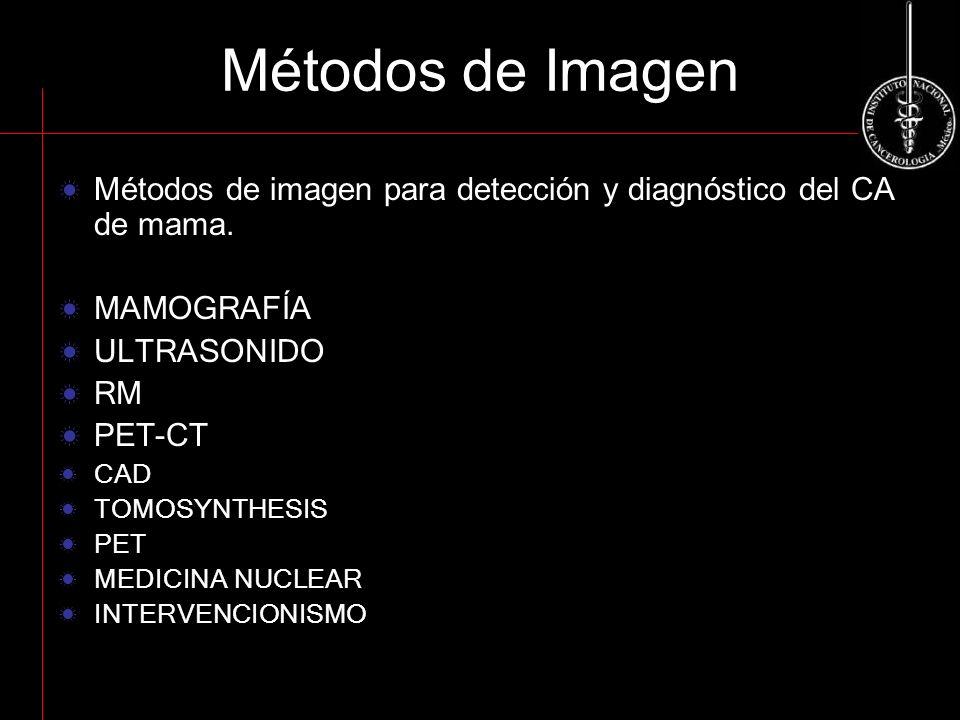 Métodos de Imagen Métodos de imagen para detección y diagnóstico del CA de mama. MAMOGRAFÍA. ULTRASONIDO.