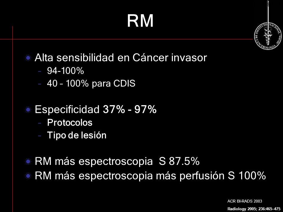RM Alta sensibilidad en Cáncer invasor Especificidad 37% - 97%