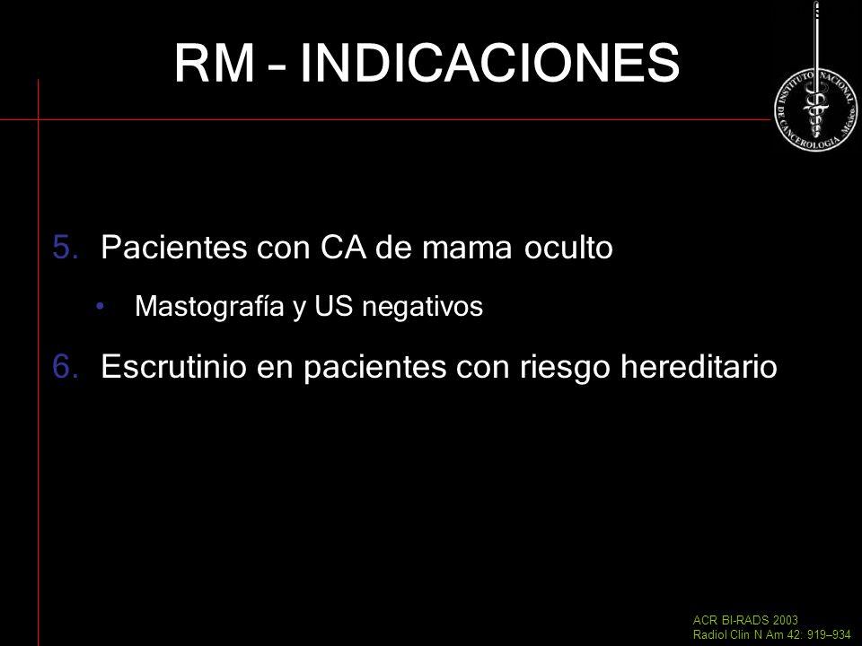 RM – INDICACIONES Pacientes con CA de mama oculto