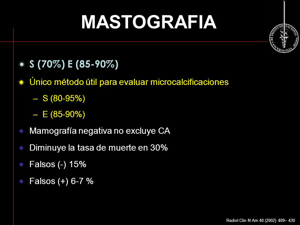 MASTOGRAFIA S (70%) E (85-90%)
