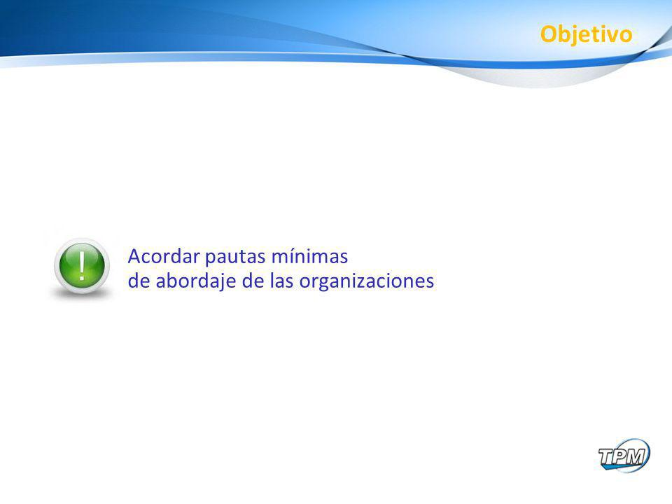 Objetivo Acordar pautas mínimas de abordaje de las organizaciones