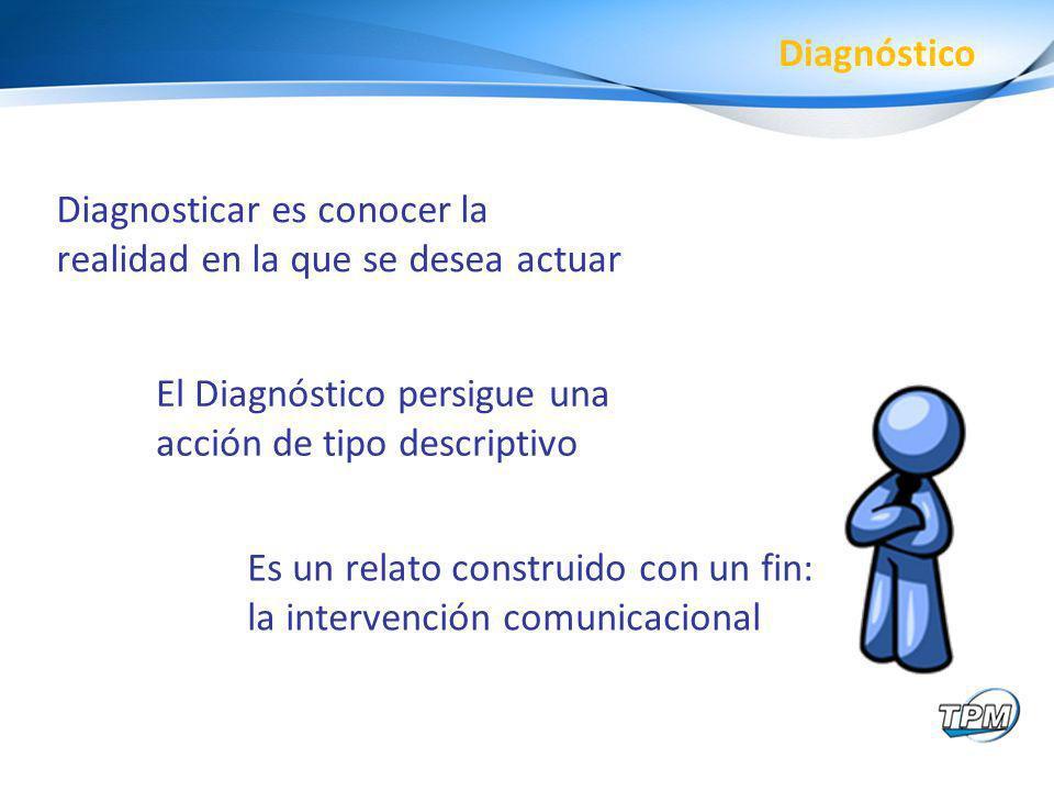 Diagnóstico Diagnosticar es conocer la realidad en la que se desea actuar. El Diagnóstico persigue una acción de tipo descriptivo.