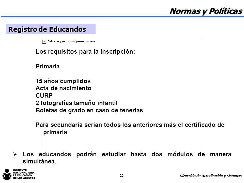 Normas y Políticas Registro de Educandos