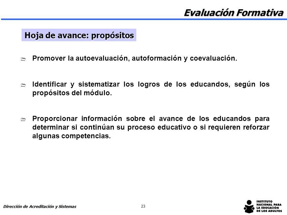 Evaluación Formativa Hoja de avance: propósitos