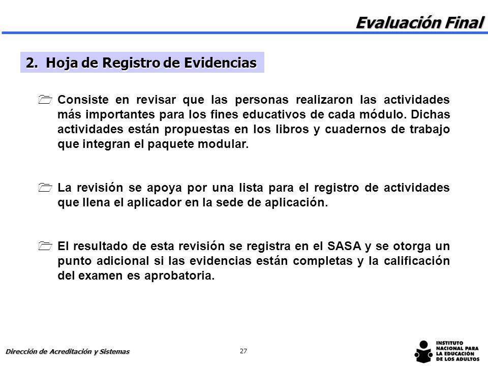 Evaluación Final 2. Hoja de Registro de Evidencias