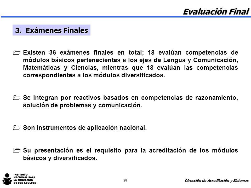 Evaluación Final 3. Exámenes Finales