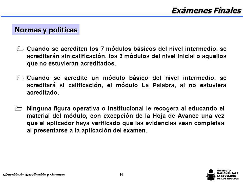 Exámenes Finales Normas y políticas