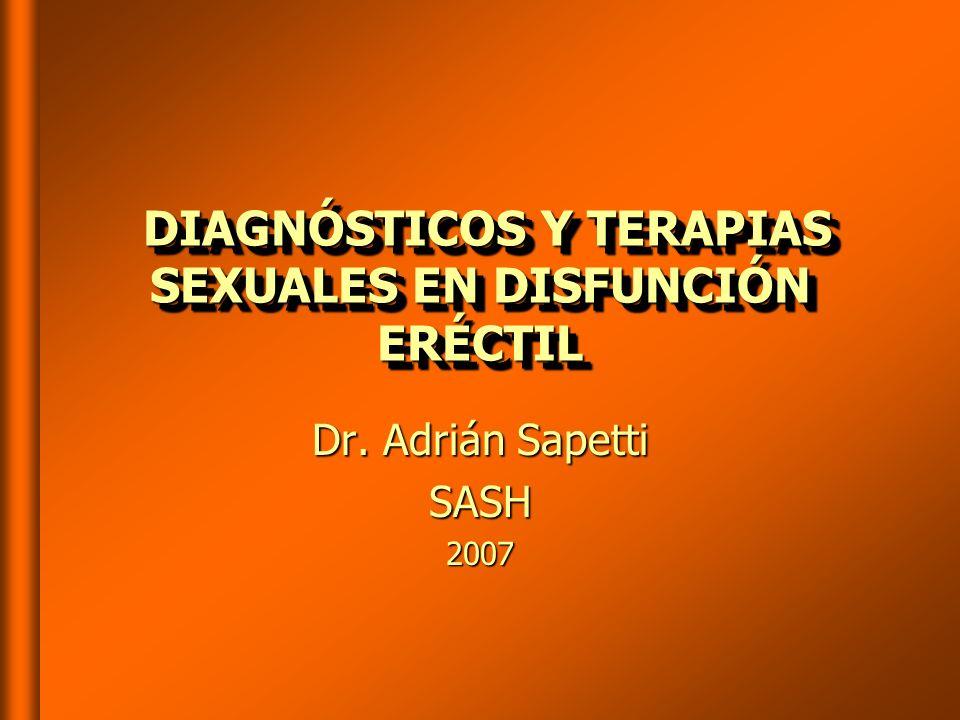 DIAGNÓSTICOS Y TERAPIAS SEXUALES EN DISFUNCIÓN ERÉCTIL